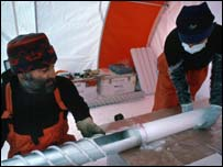 Scientists with the ice-core, Epica