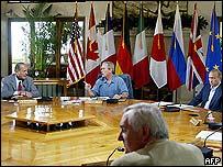Jacques Chirac, George Bush, Bertie Ahern and Vladimir Putin