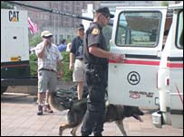 A bomb sniffing dog