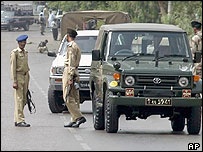 Soldiers at the scene of Thursday's attack in Karachi
