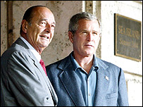 Chirac and Bush at the G8 summit