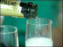 Champagne being poured, BBC