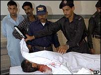 A victim in hospital in Karachi