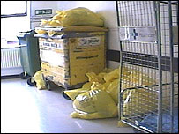 Clinical waste in the corridors