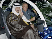 Bush shares a ride with new Iraqi interim President Sheikh Ghazi al-Yawer