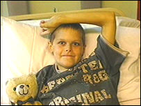 Joshua having his transplant transfusion in Great Ormond Street hospital