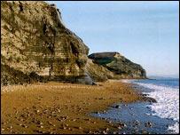 The beach below Golden Cap, near Lyme Regis