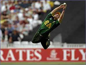 Jonty Rhodes takes a catch in the covers