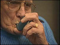 Elderly man with asthma inhaler