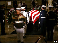 Changing of the guard overlooking Reagan's coffin