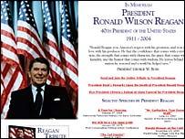 Bush campaign website front page