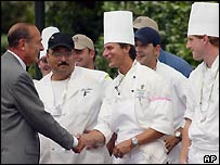 Jacques Chirac with chefs