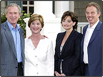 President Bush, First Lady Laura Bush, British Prime Minister Tony Blair and his wife, Cherie, at the G8 summit