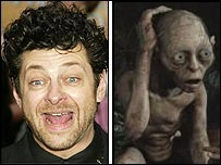 Andy Serkis (left) and Gollum
