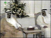 Crown Prince Abdullah of Saudi Arabia and Emir Hamad bin Khalifa of Qatar
