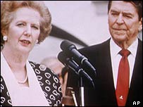 Margaret Thatcher with Ronald Reagan in 1987