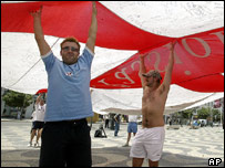England football fans at the Rossio square in central Lisbon