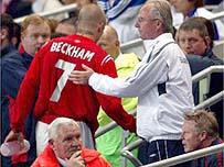 Manager Sven-Goran Eriksson subs David Beckham