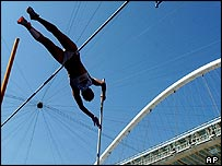 Women's pole vault during the Greek track and field championships at the Olympic stadium of Athens