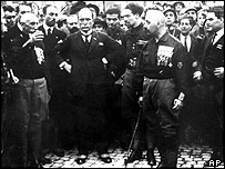 Mussolini with other members of the Fascist Party