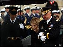 Nancy Reagan arrives outside Washington National Cathedral