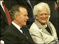 George HW Bush and his wife Barbara at Reagan's funeral