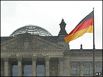 German flag flies at the Reichstag