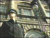 Bute House, policeman standing outside