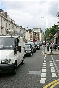 Saturday traffic on Kings Road, Chelsea, London