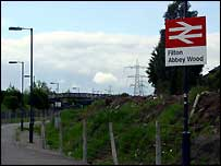 Filton Abbey Wood station and sign