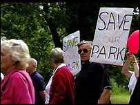 Protest in Dartford's Central Park
