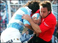 Wales full-back Rhys Williams is denied by Argentina's Lucas Borges