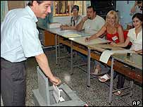 Maltese Prime Minister Lawrence Gonzi casts his vote in a school in Marsacala