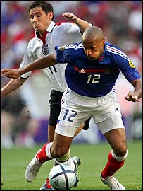 France striker Thierry Henry battles with England goalscorer Frank Lampard