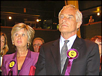 Robert Kilroy-Silk and wife Jan await the result