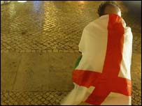 Dejected England fan in Lisbon