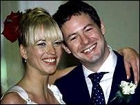 Sara Cox and John Carter on their wedding day