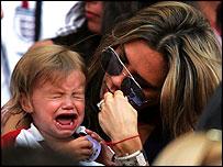 Romeo Beckham cries