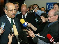 Mohamed ElBaradei takes questions in Vienna