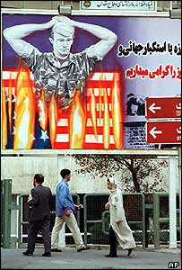 Tehran poster showing US hostage in flames (archive)