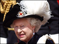 The Queen in traditional Garter robes