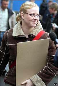 Laetitia Delhez outside the court in Arlon