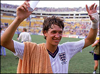 Gary Lineker celebrates after beating Poland in 1986