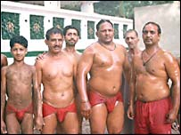 A group of current pehlwani at a training session
