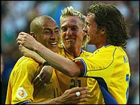 Sweden celebrate during their crushing win over Bulgaria
