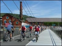 Cyclists in Swansea, picture courtesy of Swansea Council