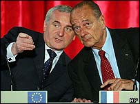 Bertie Ahern and Jacques Chirac confer
