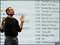 Apple boss Steve Jobs stands next to a list of songs at the iTunes launch