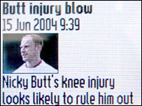 Screen shot of a story from the Euro 2004 service