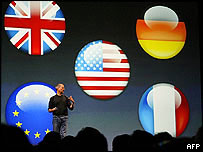 Apple chief executive Steve Jobs at London iTunes launch
